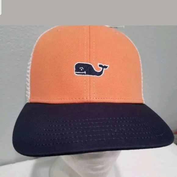 8938c39aef594 NEW Vineyard Vines Trucker mesh hat cap blue peach